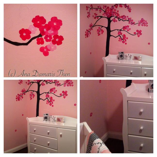 Pink Flowers Tree Hand Painted Mural