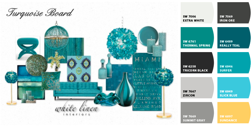 Turquoise Mood Board and Color Scheme Miami Interior Decorator White Linen Interiors