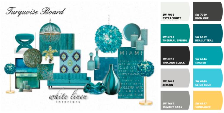 Turquoise Mood Board and Color Scheme Miami Interior Decorator White Linen Interiors