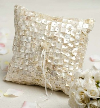 wedding ring pillow small with white flowers