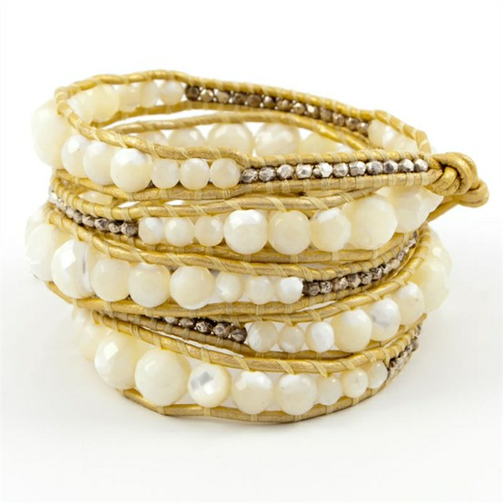 image gold bracelet with mother of pearl beads with silver smaller beads fashion