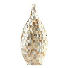 Mosaic vase in white mother of pearl image