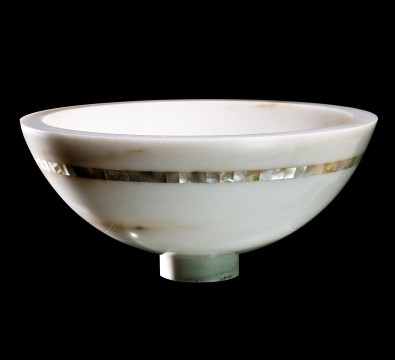 image of marble stone bowl sink in modern style with white mother of pearl inlay design.