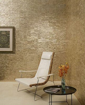 wall treatment with mother of pearl tile modern design