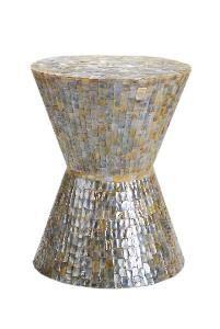 image accent table in mother of pearl white