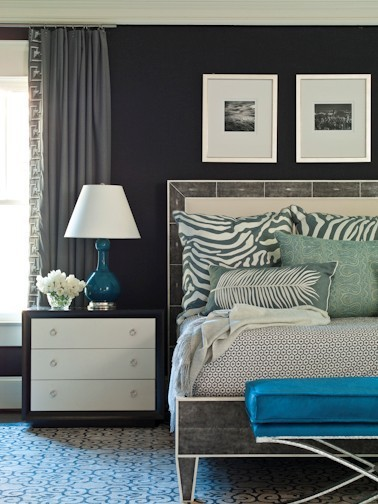 bedroom color navy, gray, white, jade colors