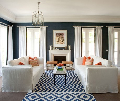image living room with dark navy blue with white interiors