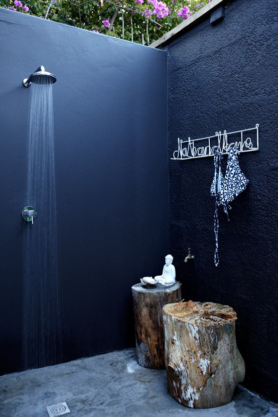 Outdoor bathroom dark color idea for shower