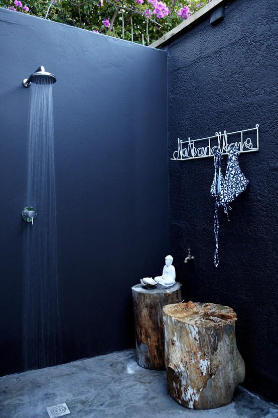 Outdoor bathroom dark color idea for shower