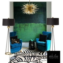 Interior design board, colors turquoise, green, and black with gold