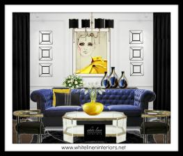 White Linen Interiors LLC Miami Interior Decorator   Bold Eclectic Mix Living Room 3D Mood Board