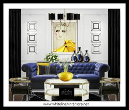 White Linen Interiors LLC Miami Interior Decorator | Bold Eclectic Mix Living Room 3D Mood Board