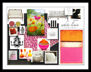 bold pink + orange + white concept design board
