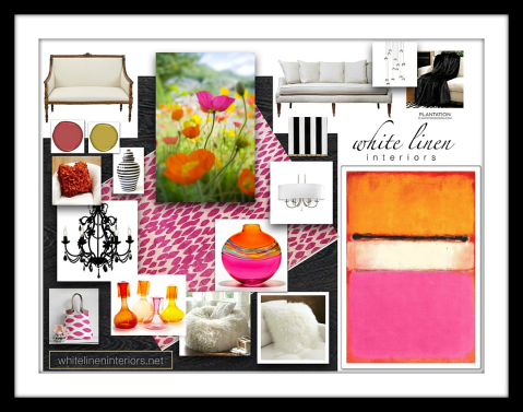 Living Room Transitional Style   Bold color trends 2012