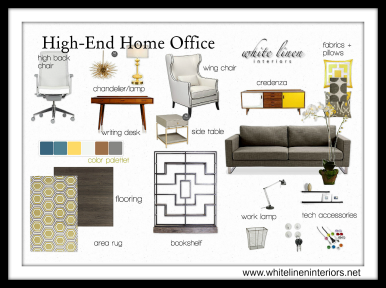 Decor Idea Board | High End Home Office | Mod-Vintage