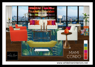 tangerine chair, white sofa, bold colors, 3D MoodBoard