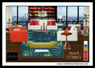 tangerine chair, white sofa, bold colors, 3D MoodBoard