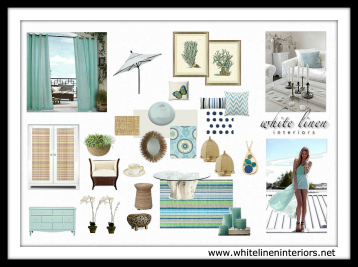 Design Concept Board | Chic Boutique Hotel | Coastal Style Interior Decorating Tips