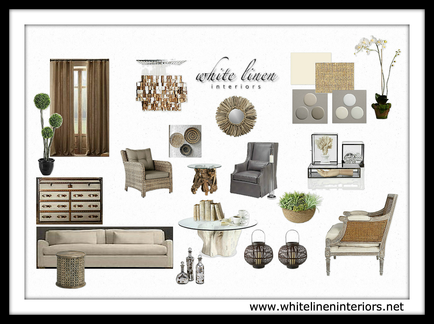 White linen interiors offers affordable online e design for Best home decor boards on pinterest
