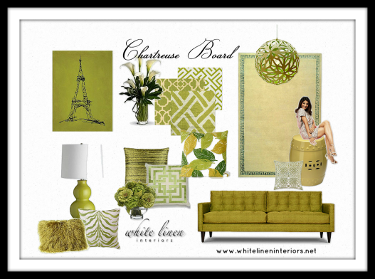 Modern Tropical Color Scheme | Chartreuse | Decor Idea Board