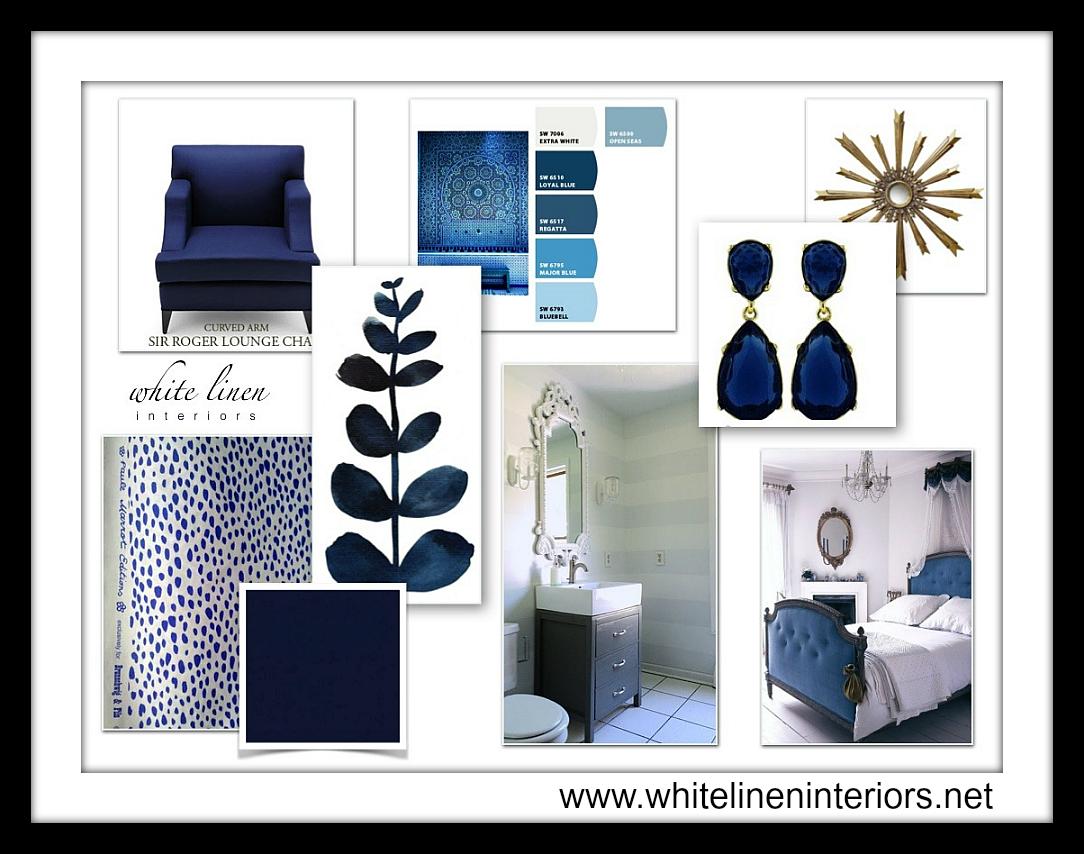 Color And Fabric Concept Board Indigo Blue Board White