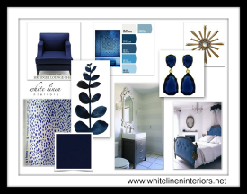Indigo Blue Concept Board | White Linen Inteiors, LLC