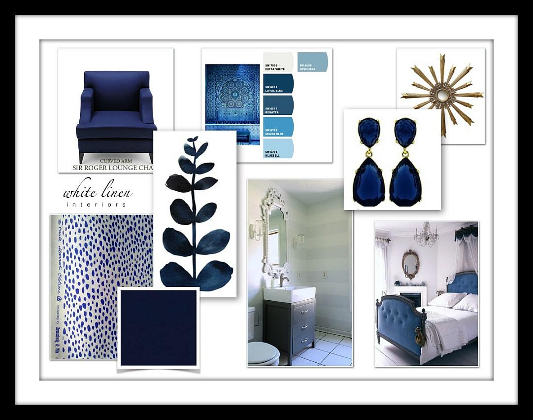 Indigo Blue Color Design Board Concept Bedroom Interior