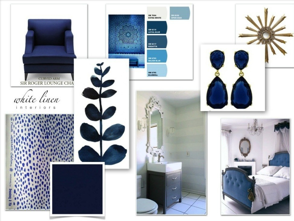 blue and white bedroom concept board