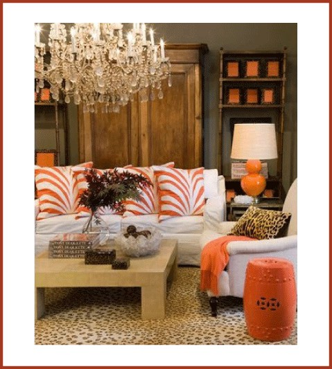 Warm neutrals beige, brown with pops of orange tangerine.