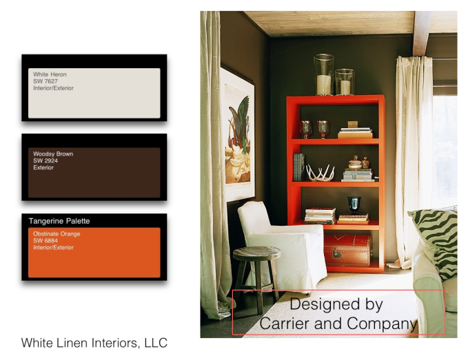 Color Board Inspiration using Sherwin-Williams® paints / Obstinate orange / Woodsy Brown / White Heron
