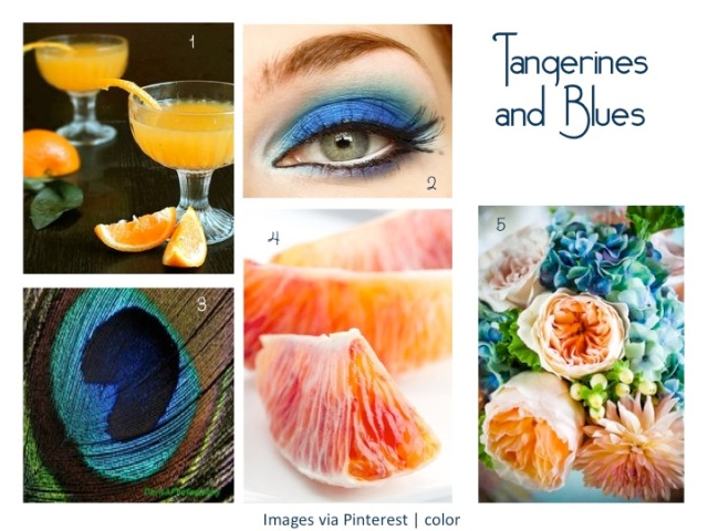 Tangerine fruits + Blue flowers, eye makeup color board design idea.