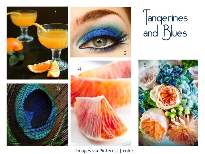 Tangerine fruits + Blue flowers, eye makeup color board design idea.