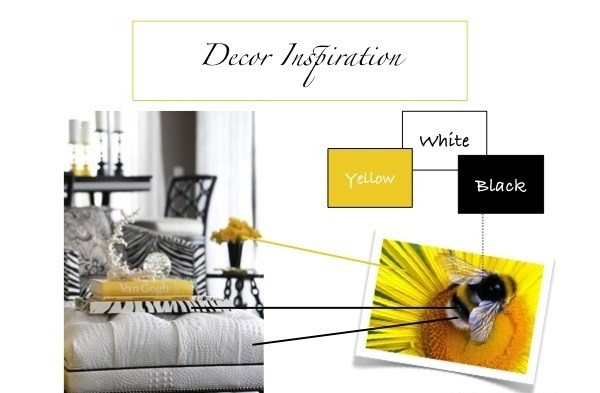 Home Decor and design with colors in yellow black and white
