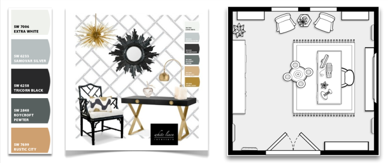 Concept Interior Design Board and Rool Layout Plan by Miami Florida Interior Decorator Ana D. Then