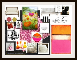 Design Concept Board + Color Scheme  Summer Color Trend 2012  | Sophisticated Transitional Style | Living  Room