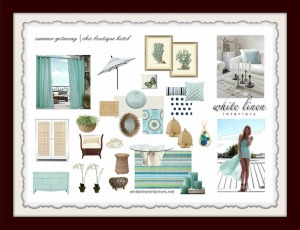 Ana D Then - WLI - Summer Getaway,  By The Sea Inspired Chic Boutique Hotel Concept Interior Design Board