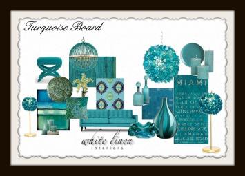 Turquoise MoodBoard, Furniture and Decor Ideas
