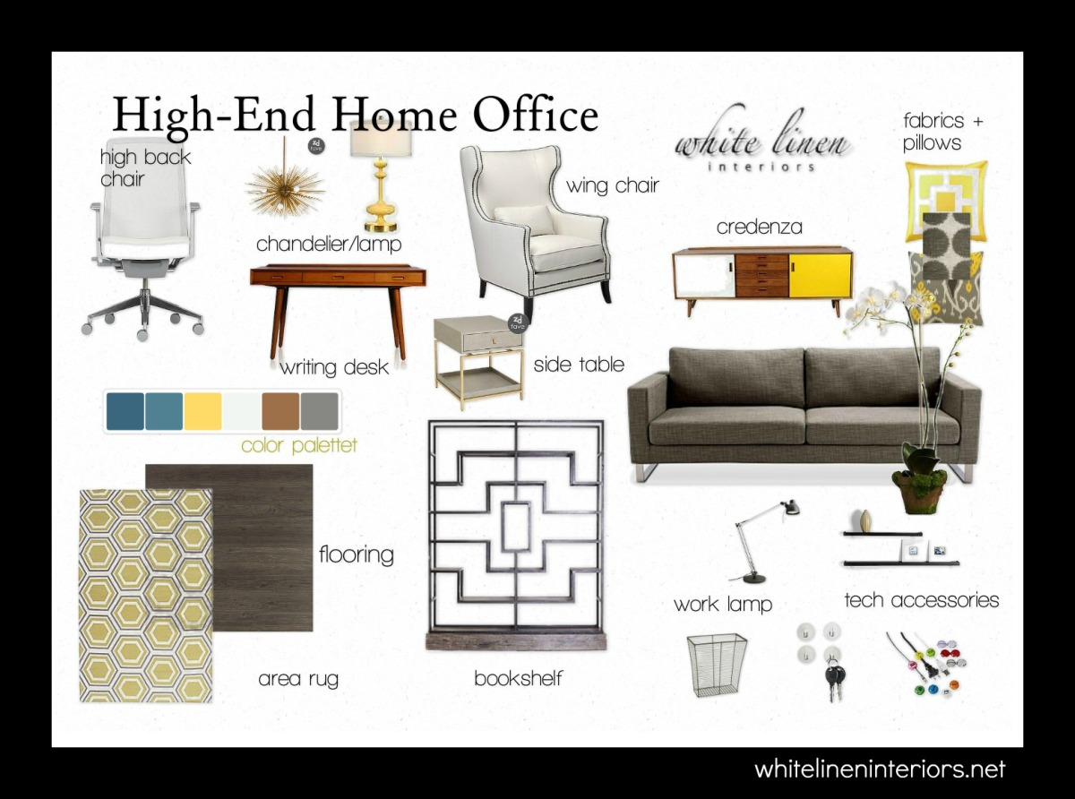 Mid-Century Modern Home Office Home Decor Ideas e-Design MoodBoard