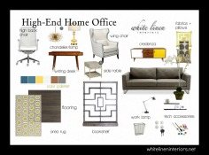 Mid-Century Modern Home Office Home Decor Ideas e-Design MoodBoard