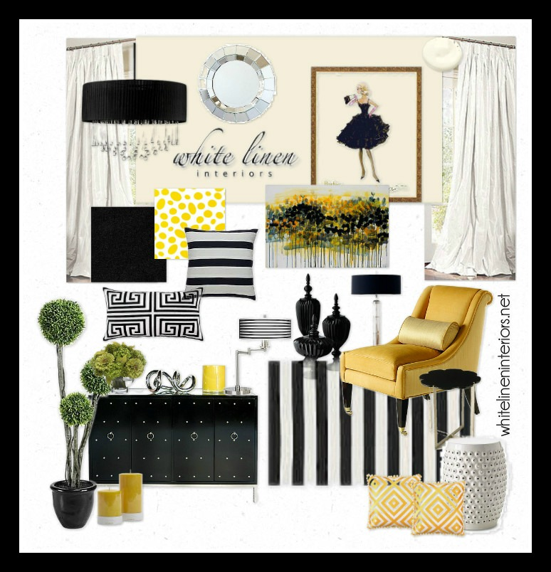 ob uptown chic yellow black and white white linen interiors. Black Bedroom Furniture Sets. Home Design Ideas
