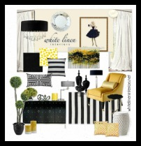 Striped Black and White with Pops of Yellow Home Decor Ideas e-Design Mood Board