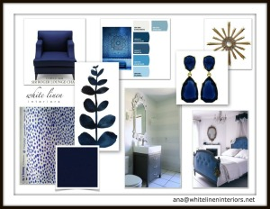 Color Scheme and Design Concept Board  Bold Indigo Blue and White | Paint color, textile and idea board | Inspiration and design for a master bedroom suite.