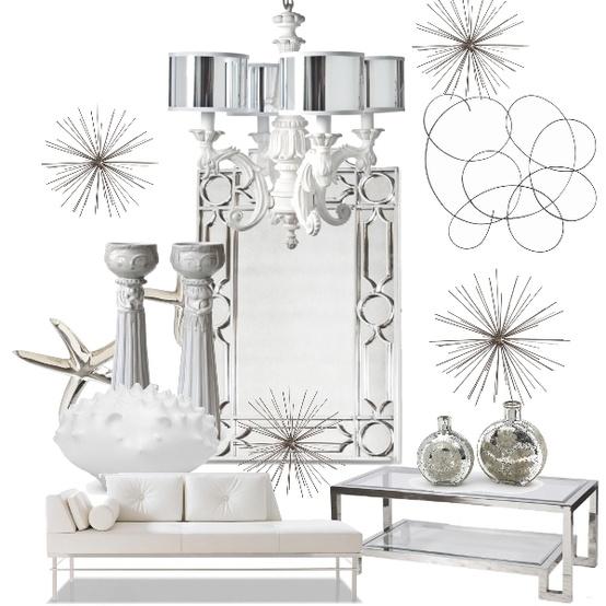 Image Winter White Sparkle Decor Idea Board | white linen interiors, llc Miami Interior Decorating