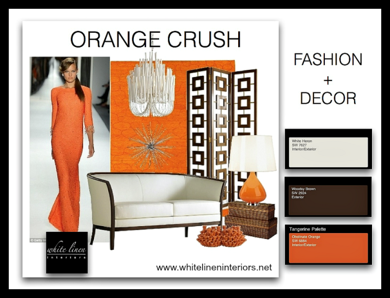 Home Decor and Fashion | Design Orange Hue Color Palette |  blog White Linen Interiors Miami