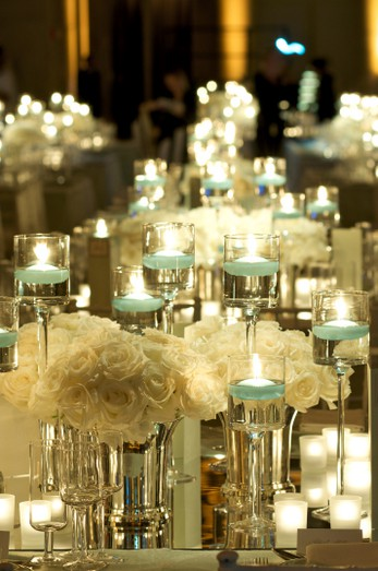 Beautiful white roses and candles