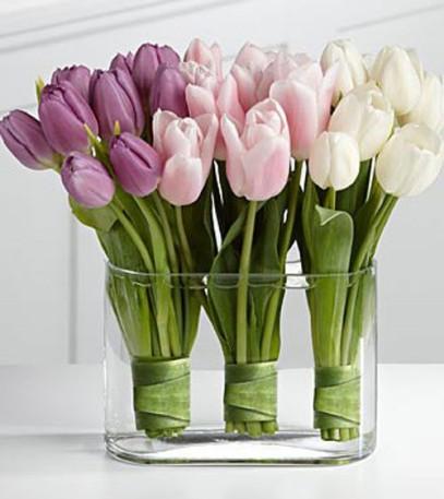 lavender, pink, white tulips centerpiece