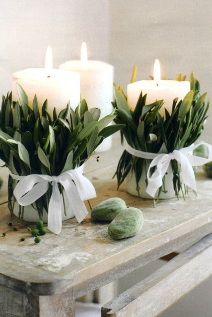 Candles wraped in sage leafs