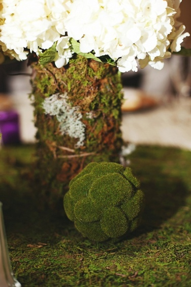 Hydrangeas wraped with moss- Rustic