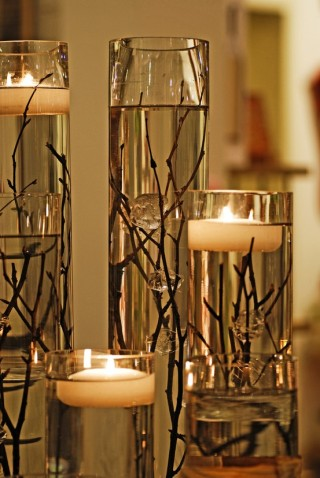 Centro Garden.com  Tall Cylinder with floating candle