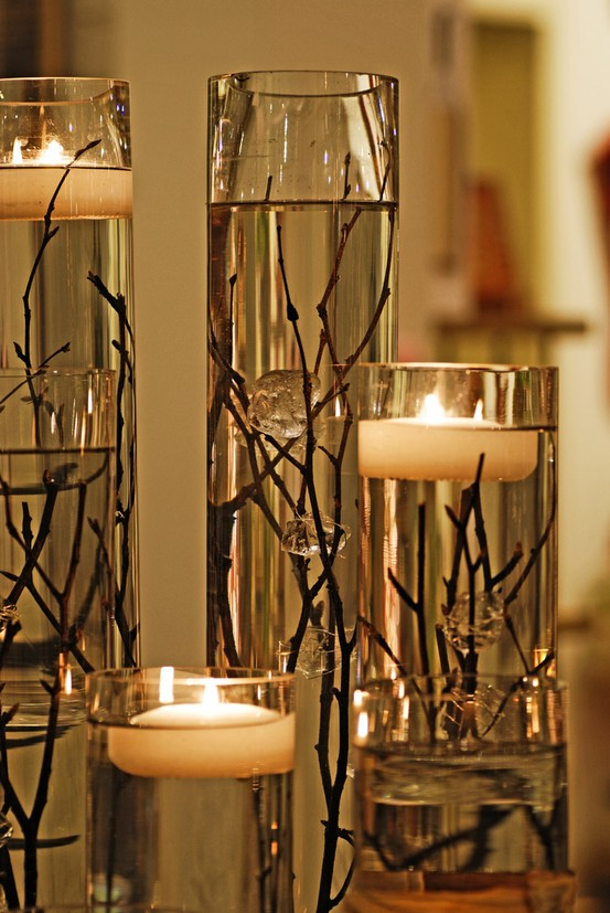 Centro Garden.com| Tall Cylinder with floating candle